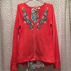 Miss Me L floral embroidered cardigan sweater